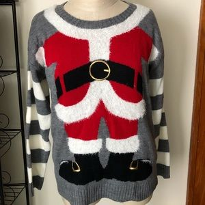 Cute Santa Sweater or Ugly Sweater holiday fuzzy